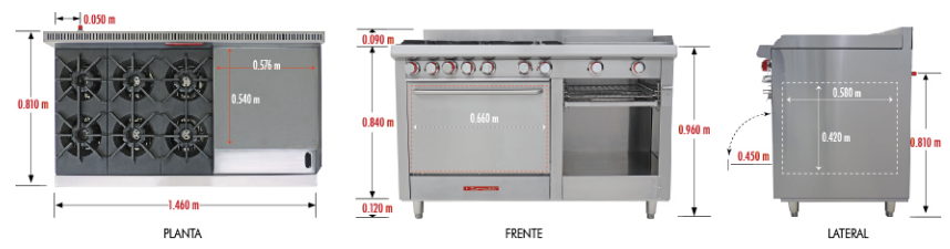 Estufa a gas coriat ec 6 hg master estufas industriales for Medidas de cocina industrial